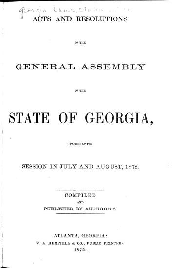 Acts of the General Assembly of the State of Georgia PDF