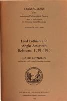 Lord Lothian And Anglo American Relations 1939 1940