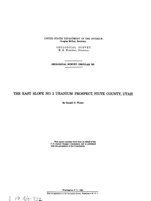 The East Slope No  2 Uranium Prospect