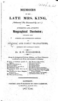 Memoirs of the late Mrs  King  otherwise the Diamond Q n   With     anecdotes  etc   A satire on Queen Charlotte   PDF