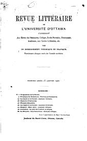 Revue littéraire de l'Université d'Ottawa: Volumes1à2