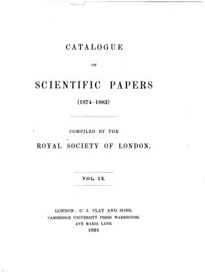 Catalogue of Scientific Papers  ser  3 1874 1883 PDF