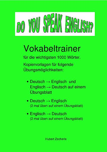 DO YOU SPEAK ENGLISH  Vokabeltrainer Kopiervorlagen PDF