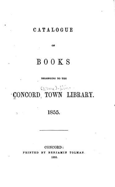 Download Catalogue of Books Belonging to the Library  1855 Book