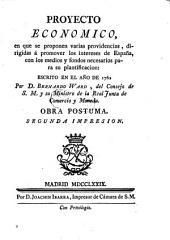 Proyecto economico ... escrito en el año de 1762