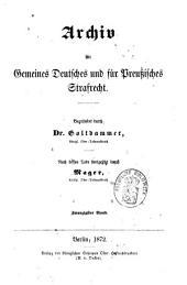 Archiv für preußisches Strafrecht: Band 20