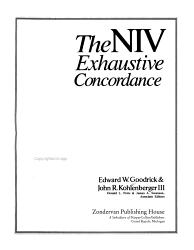 The Niv Exhaustive Concordance Book PDF