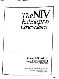 The NIV Exhaustive Concordance Book