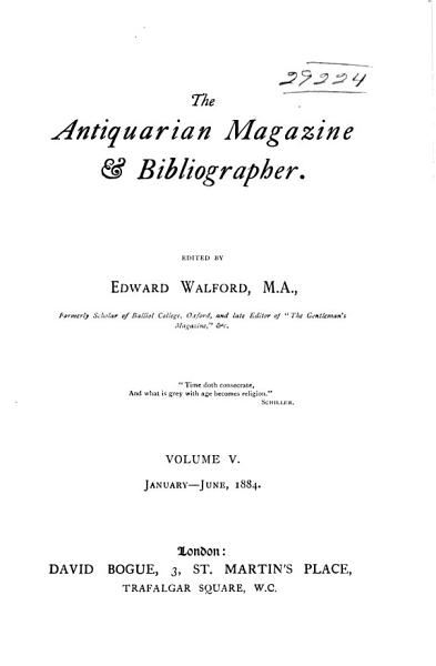 Download Walford s Antiquarian Magazine and Bibliographical Review Book