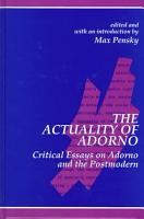 The Actuality of Adorno PDF