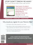 Teaching Student Centered Mathematics Pearson Etext Access Code Book