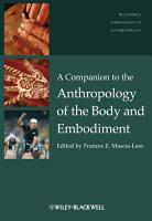 A Companion to the Anthropology of the Body and Embodiment PDF