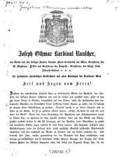"""""""Der"""" gesammten ehrwürdigen Geistlichkeit und allen Gläubigen der Erzdiöcese Wien Heil und Segen vom Herrn! Nachdem der auferstandene Heiland..."""