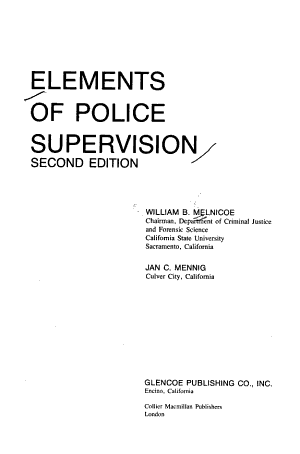 Elements of Police Supervision PDF