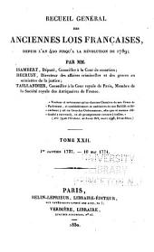 Recueil général des anciennes lois françaises: depuis l'an 420 jusqu'à la révolution de 1789 ...