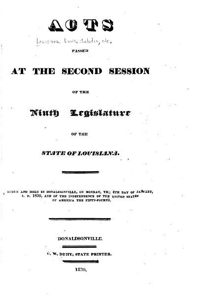 Download Actes Pass  s    la Session de la L  gislature de L   tat de la Louisiane Book