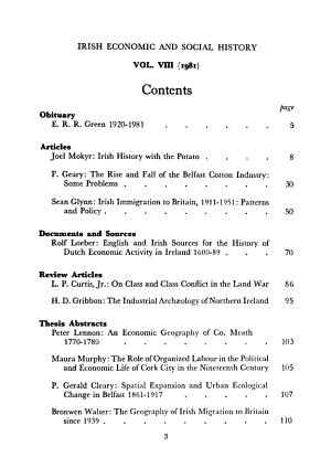 Irish Economic and Social History PDF