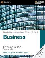 Cambridge International AS and A Level Business Revision Guide PDF