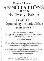 Pious Annotations upon the Holy Bible  expounding the difficult places thereof learnedly  and plainly  with other things of great importance  etc  Translated by R  G  With a portrait PDF