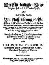 Der Allerheiligsten Dreyfaltigkeit Fest und LobBruderschafft, Oder Catholische Predig Von Auffrichtung und Bestellung deß Geistlichen Reichs ...