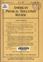 American Physical Education Review: Volume 27, Issue 4
