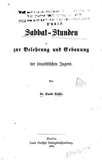 Sabbat Stunden zur Belehrung und Erbauung der israelitischen Jugend PDF