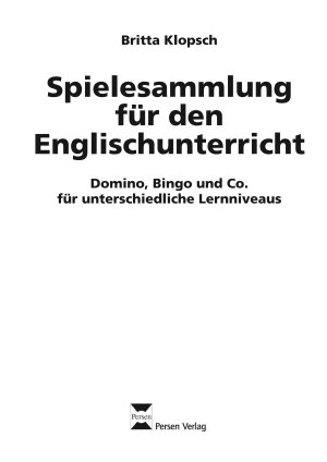Spielesammlung f  r den Englischunterricht PDF