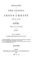 Thoughts on the Gospel of Jesus Christ  By a lay member of the Church of England  J  Stow   By a layman PDF