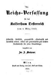 Die Reichs-Verfassung für des Kaiserthum Oesterreich vom 4. März 1849