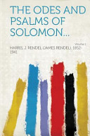 The Odes and Psalms of Solomon... Volume 1