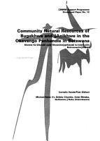 Community Natural Resources of Bugakhwe and   Anikhwe in the Okavango Panhandle in Botswana PDF