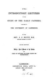 Two introductory lectures on the study of the early fathers