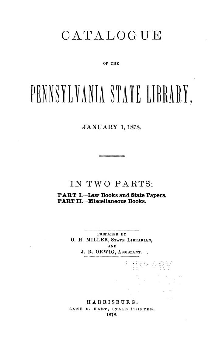 Catalogue of the Pennsylvania State Library, January 1, 1978