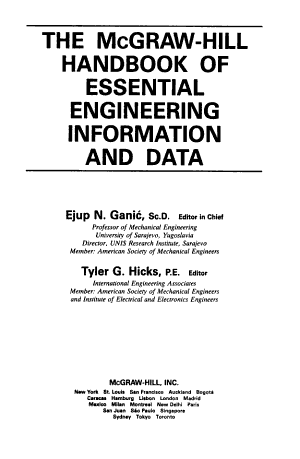 The McGraw Hill Handbook of Essential Engineering Information and Data PDF
