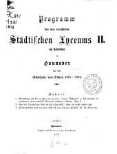 Programm des Städtischen Lyceums II. am Kleverthor zu Hannover: für das Schuljahr von Ostern ... - ...