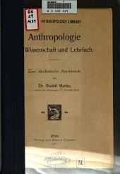 Anthropologie als Wissenschaft und Lehrfach ...