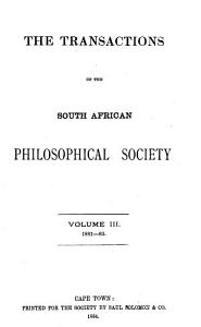 Transactions of the South African Philosophical Society PDF