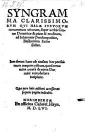 Syngramma ... super verbis Coenae Dominicae (etc.)