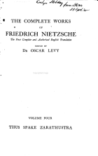 The Complete Works of Friedrich Nietzsche: Thus spake Zarathustra, tr. by Thomas Common. 1909