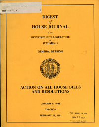 Digest of Senate and House Journals of the     State Legislature of Wyoming PDF