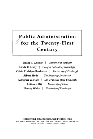 Public Administration for the Twenty first Century PDF