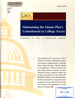 Maintaining the Master Plan's Commitment to College Access