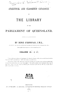 Analytical and Classified Catalogue of the Library      I  P