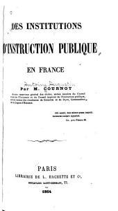 Des institutions d'instruction publique en France