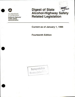 A Digest Of State Alcohol Highway Safety Related Legislation