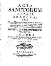 Acta sanctorum Belgii selecta