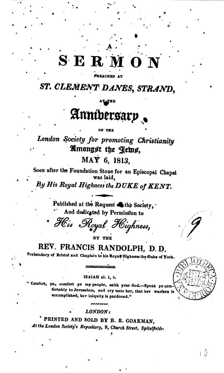 A sermon [on Luke xxiii, 34] preached ... before the London society for promoting Christianity amongst the Jews