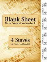 Blank Sheet Music Composition Notebook   4 Staves with Treble and Bass Clef PDF