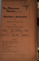 The Minnesota Bulletin of Charities and Correction: Volumes 10-15