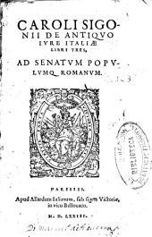 Caroli Sigonii De antiquo iure ciuium Romanorum libri duo: eiusdem De antiquo iure Italiae libri tres